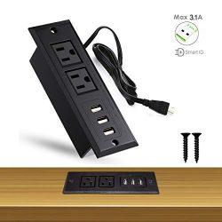 YaBland Desktop USB Power Strip Recessed Outlets Socket,Max 3A Charging Station, Conference Desk ...