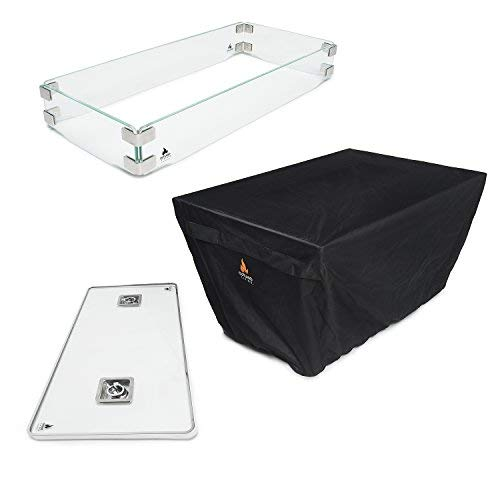 Outland Fire Table 3 Piece Rectangle Accessory Set – Tempered Glass Lid Insert, Tempered G ...