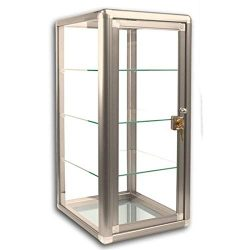 Elegant Bronze Aluminum Display Table Top Tempered Glass Show Case. Tempered Glass Door with Key ...