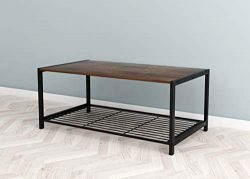 Vintage Rustic Brown Finish 2-Tier Coffee Table with Bottom Mesh Shelf