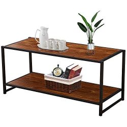 VECELO Cocktail Table,Coffee Table with Storage Bottom Shelf for Living Room and Office
