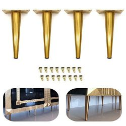 "4Pcs 7.5"" Furniture Cabinet Metal Legs Kitchen Tall Sleek Tapered Leg, Brushed Nickel Fini ..."