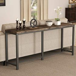 "Tribesigns Rustic Solid Wood Console Table Behind Sofa Couch, 70.9"" Extra Long Narrow Entryway H ..."