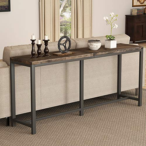 Tribesigns Rustic Solid Wood Console Table Behind Sofa