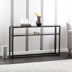 Baldrick Glass Media Console Table – Space Saving w/ Slim Profile – 2 Tier