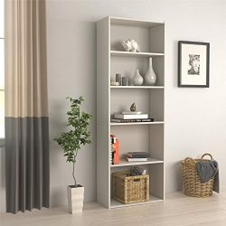 RealRooms Tally 5 Shelf Bookcase, White