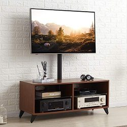 TAVR Wood Media TV Stand Storage Console with Swivel Mount Height Adjustable Entertainment Cente ...