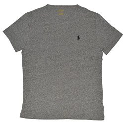 Polo Ralph Lauren Men's Classic Fit V-Neck T-Shirt (Pepper Heather, Large)