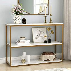 Tribesigns 3-Tier Console Table, Sofa Entry Table with Gold Metal Frame for Home, Creamy White