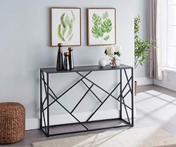 Kings Brand Furniture – Macon Modern Sofa/Entryway Console Table, Black
