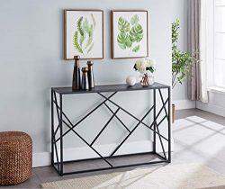 Kings Brand Furniture – Macon Modern Sofa/Entryway Console Table, Black