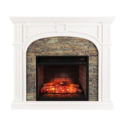 Southern Enterprises Timothy Infrared Electric Fireplace, White Finish with Faux Stone