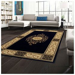 Superior Elegant Medallion Collection 5′ x 8′ Area Rug, Attractive Rug with Jute Bac ...