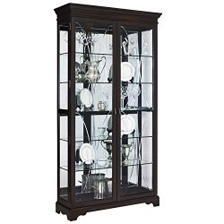 Pulaski P021579 Collection Sable Two Door Curio Display Cabinet, 44″ x 15″ x 81.5 ...