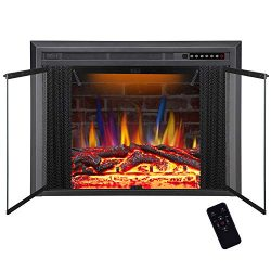 R.W.FLAME 39″ Electric Fireplace Insert, Traditional Antiqued Build in Recessed Electric S ...