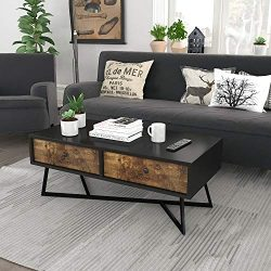 Lifewit Vintage Coffee Table, Industrial Cocktail Table, Sofa Table with 2 Fabric Storage Drawer ...