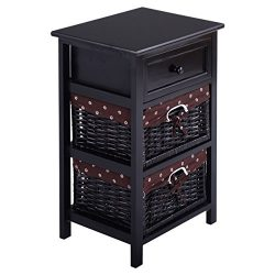 Giantex Wooden Nightstand 3 Tiers W/ 2 Baskets and 1 Drawer Bedside Sofa Storage Organizer for H ...