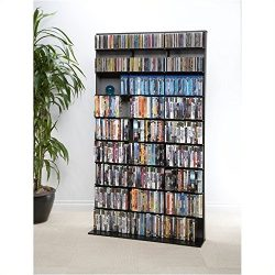 Pemberly Row Media Storage Cabinet – Large Tower Rack with 9 Fixed Shelves in Black