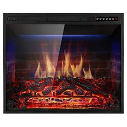 "Xbeauty 28"" Electric Fireplace Insert Recessed in Wall Freestanding Heater w/Large Screen  ..."