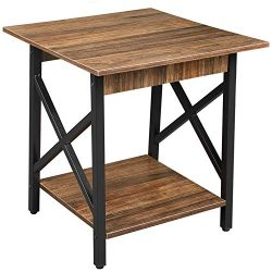 GreenForest End Table Wood and Metal Side Table with Storage Shelf for Living Room, Easy Assembl ...