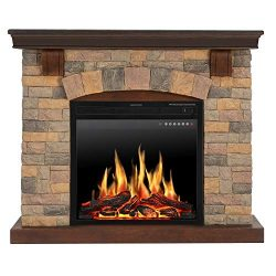 JAMFLY Electric Fireplace Wall Mantel in Faux Stone, Birch Wood Heater with Multicolor Flames, T ...