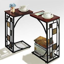 Yaheetech Snack Table Sofa Side Table Coffee Tray End Table for Living Room, Set of 2