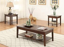 Poundex F3139 Laurine 3-Piece Brown Wood Coffee Table Set w/Lower Shelf, Multi
