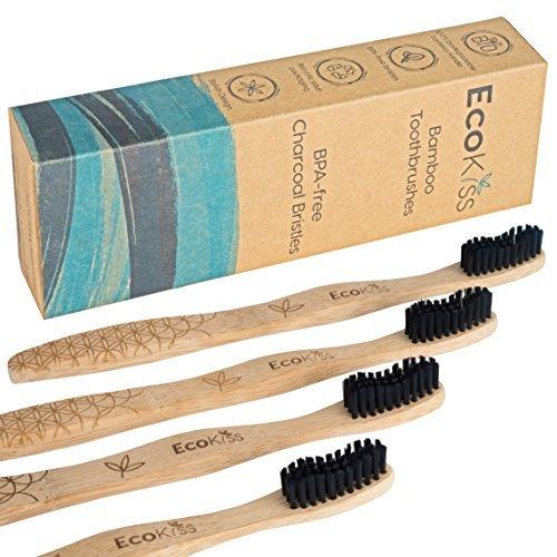 Charcoal Toothbrush Soft Bristles for Teeth Whitening – Zero Plastic Biodegradable Bamboo  ...