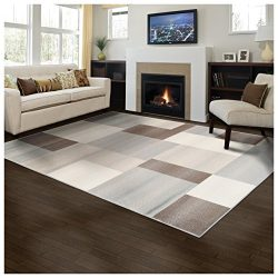 Superior Geometric Clifton Area Rug, 4′ x 6′, Beige