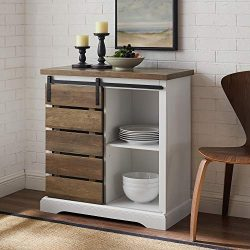 WE Furniture AZF32ALSDRO Buffet, 32″, Solid White/Rustic Oak