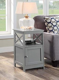 Convenience Concepts 203066GY Oxford End Table with Cabinet, Gray