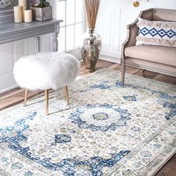 nuLOOM Persian Verona Distressed Area Rug, 5′ x 7′ 5″, Blue