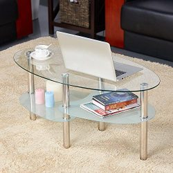 Yaheetech Round Oval Glass Top Coffee Table Center Table Sofa Side Cocktail Tables for Living Ro ...