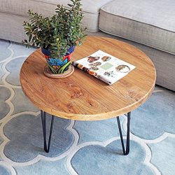 WELLAND Rustic Round Old Elm Wooden Coffee Table