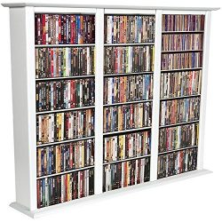 Spartak Bookcase Media Tower – Triple 2403WHITE (White) (50″H x 76″W x 9.5R ...