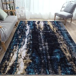 LOCHAS Stylish Modern Washable Area Rug for Living Room Bedroom Dining Room Runner, 5.2′ X ...