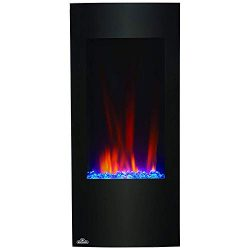 Napoleon 38 Inch Vertical Black Wall Mount Hanging Electric Fireplace w/Remote