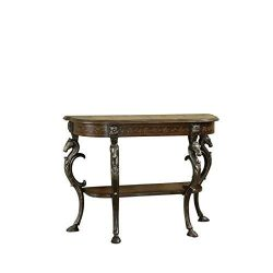 Powell Masterpiece Floral Demilune Console Table with Horse Head and Hoofed-Foot Cast Legs and D ...