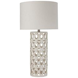 Stone & Beam Ceramic Geometric Cut-Out Table Desk Lamp With LED Light Bulb – 13 x 13 x ...