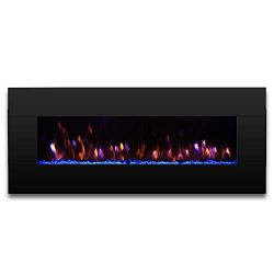 TURBRO Reflektor 58″ 1400W Electric Fireplace Wall Mounted, Large Sized Decorative Lightin ...
