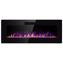 SUNLEI 42″ Electric Fireplace, in Wall Recessed & Wall Mounted Linear Electric Firepla ...