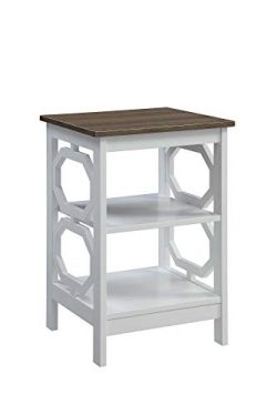 Convenience Concepts 203210WDFTW Omega End Table, Driftwood Top/White Frame