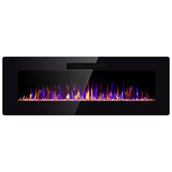 SUNLEI 50″ Electric Fireplace, in Wall Recessed & Wall Mounted Linear Electric Heater  ...