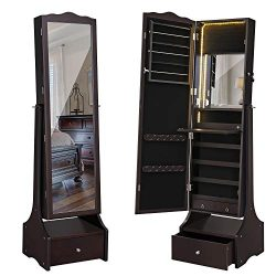 SONGMICS LED Jewelry Cabinet Lockable Jewelry Armoire with Full Length Mirror, Makeup Tray and L ...