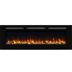 PuraFlame Alice 60 Inches Recessed Electric Fireplace, Wall Mounted for 2 X 6 Stud, Log Set & ...