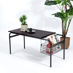 Industrial Living Room Coffee Table with Storage Sofa Table for Small Space Cocktail Table with  ...