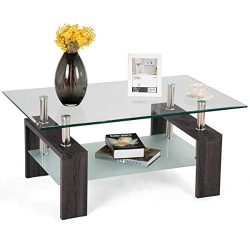 Tangkula Glass Coffee Table Modern Simple Style Rectangular Wood Legs End Side Table Living Room ...