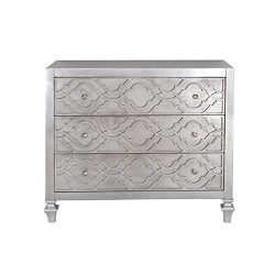 PRI Home Fare Woven Trellis Three Drawer Accent Chest in Silver Leaf