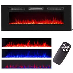 XtremepowerUS Recessed Electric Fireplace in-Wall Wall Mounted Electric Heater Fireplace 750W 15 ...