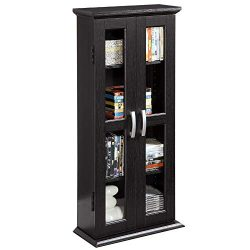 Walker Edison 41″ Wood Media Storage Accent Cabinet with Glass Doors, Black (Renewed)